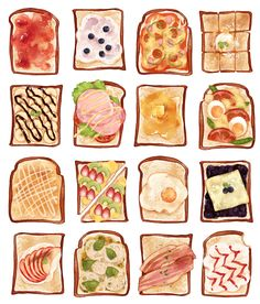 Discovered by mxx*. Find images and videos about art, food and illustration on We Heart It - the app to get lost in what you love. Food Design, Cute Food Drawings, Food Sketch, Watercolor Food, Watercolor Paintings, Food Painting, Le Diner, Food Illustrations, Food Art