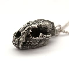 Cat Skull Pendant Necklace Cougar Mountain Lion. $25.00, via Etsy.