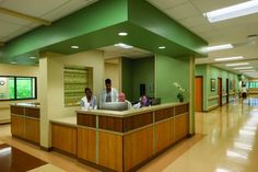 Nurse stations are centrally located on each floor, offering easy accessibility and lean staffing to support patients in the 25-bed general rehabilitation unit, the 12-bed brain injury unit, and the 12-bed stroke unit of Baptist Memorial Rehabilitation Hospital, designed by ESa and completed in October 2014. The stations, immediately accessible from the main lobby and elevators on each floor, maximize visitor wayfinding and support staff monitoring, particularly of after-hour activity…