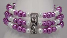 "TRIPLE PURPLE PEARLS:  8"" three strand bracelet.  $23.00  Just listed at www.etsy.com/shop/designsbyjtb."
