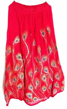 Hippie Gypsy Bohemian Tribal Sequins peasant Boho red long Skirt jupe Rock falda #Handmade #FullSkirt