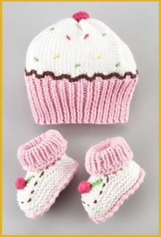 Cupcake+Hat+and+Bootie+Set+by+Art+Walk+at+Neiman+Marcus. Cupcake+Hat+and+Bootie+Set+by+Art+Walk+at+Neiman+Marcus.My future baby girl will think she is a cupcake! Art Walk Cupcake Hat and Bootie SetCupcake hat (forget the bootees!Such cute and fun hat and Knitted Baby Clothes, Baby Hats Knitting, Crochet Baby Hats, Knitting For Kids, Knit Or Crochet, Baby Knitting Patterns, Loom Knitting, Free Knitting, Knitting Projects