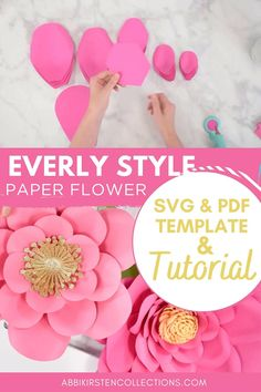 Making paper flowers is so fun and there are so many wonderful tutorials out there! I want to share the simplest method I've found for easily learning How to Make Large Paper Flowers Easy paper flower tutorials. DIY paper flowers. Paper flower templates. Paper crafting. Cricut. | Abbi Kirsten Collections #papercrafts #cricut #svg