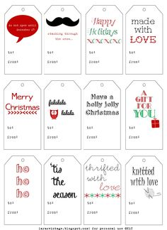 Christmas gift tag free printables, very cute