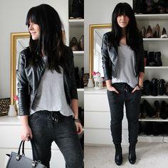 Isabel Marant Sweatpants, H&M Leatherjacket, Humanic Boots