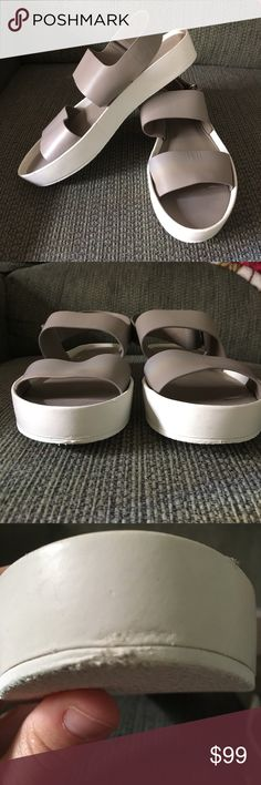 Vince size US 7.5 Euro 38 sandals Strapped sandals with Velcro closure kind of a taupe/clay/gray color with white edged bottoms. They were only worn inside a handful of times and have a few scuffs and scratches as seen in photos. They were not worn outside (see bottoms) Velcro in perfect condition. Size 7.5 US and 38 EURO used inside but still a cute little shoe with miles left. Vince Shoes Sandals