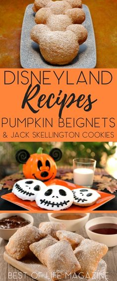 These fall recipes from Disneyland are perfect for Halloween and fall! Enjoy Pumpkin Beignets & Jack Skellington Cookies - Disneyland Recipes