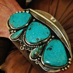 "NATIVE AMERICAN TURQUOISE LEATHER BRACELET 135g Sterling Silver CHAVEZ,4.5"" wide #CHAVEZNAVAJO"