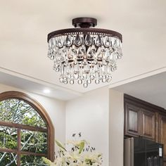 House of Hampton Bachmann 3 - Light Chandelier Style Tiered Semi Flush Mount Flush Mount Chandelier, Dramatic Lighting, Home Lighting, Bathroom Lighting, Mansion Bedroom, Daybed With Trundle, Transitional Wall Sconces, Upholstered Platform Bed