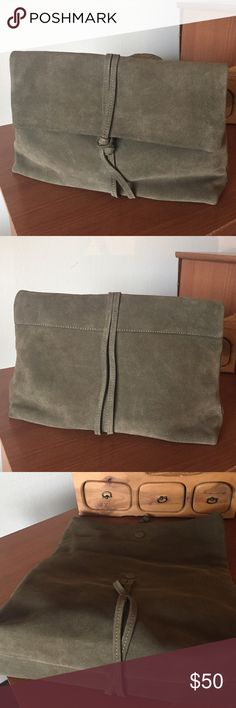 Ann Taylor Suede Clutch Ann Taylor olive green suede fold over clutch. Magnetic closure. One inside zip pocket. Ann Taylor Bags Clutches & Wristlets
