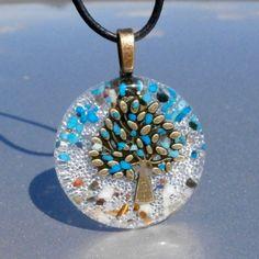 *Strom života*, XLm2 šperk křišťál minerály energie tyrkenit drahé kameny osobní orgonit stones.luxusní pendant