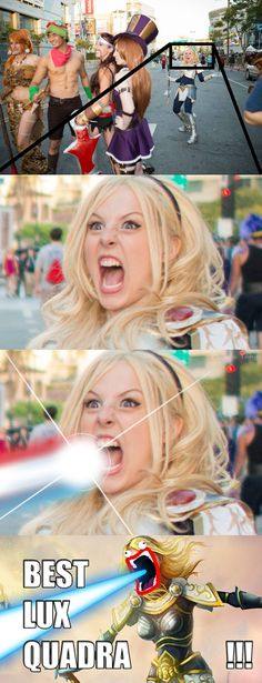 What happens when friends get a hold of your facebook photos: Lux (League of Legends) cosplay