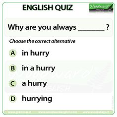 Woodward English Quiz 189 Why are you always _____? English Language Learning, English Grammar, Language Arts, English Quiz, Learn English, Woodward English, Grammar And Vocabulary, Korean Language, Quizzes