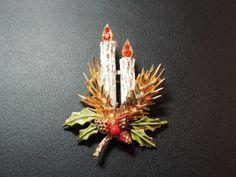 Vintage Brooch, Christmas Brooch, Christmas Candles, Holly, Rhinestones