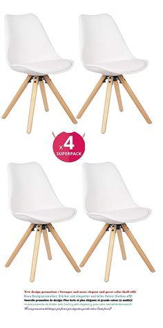 Sedile Imbottito Morbido Bianco N//A Set di 4 Sedie da Pranzo Tulip Piedi in Massello di Faggio Schienale Ergonomico