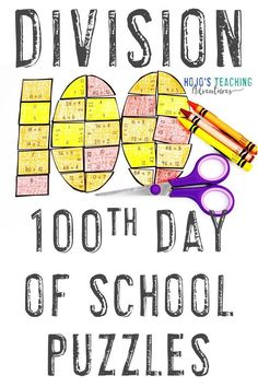 Here are some great 100th day of school games for your 3rd, 4th, or 5th grade upper elementary middle or high school students. Let them practice their division math facts. These work great as centers, stations, activities, review, and more. You also get great book ideas, an editable puzzle option, and a FREE download. Grab these for your third, fourth, or fifth grade students today! (Year 3, 4, 5, home school)