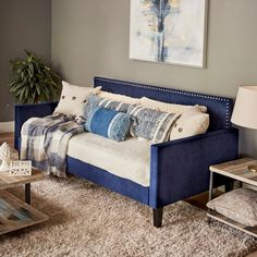 Shop for Handy Living Navy Blue Velvet Upholstered Twin-size Square Back Daybed. Get free delivery at Overstock - Your Online Furniture Outlet Store! Get in rewards with Club O! Daybed Room, Daybed Bedding, Wood Daybed, Upholstered Daybed, Sofa Bed, Trundle Bed With Storage, Daybed With Trundle, Safe Bunk Beds, Leather Daybed