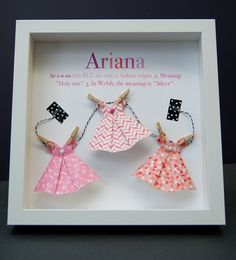 Personalized Name Paper Origami Dresses Shadowbox Custom Newborn Baby Shower Gift by paintandpapercraft on Etsy