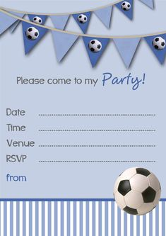 Free Party Invitations Template - Boys Football