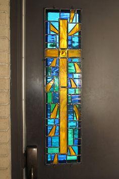 Stained Glass Cross Window in Door