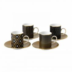 Arris Espresso Cup and Saucer (Set of 4)