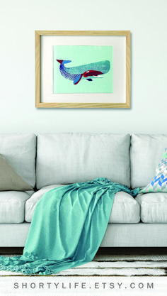 If you can't be by the ocean bring a piece of the ocean to you with this blue whale wall art print.