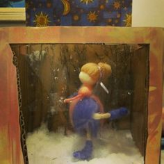 Figure Skating in gift box with ice rink, snow, pine trees and starry sky by Por um Fio toyart