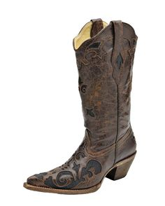 """Corral Women's Brown/Black Lizard Boot - C2118  - Fun and Playful Boots by Corral  You'll Turn Heads With These Unique Boots by Corral  13"""" Tube Height Unique Stitched Patterns 2 1/8"""" Heel Handcrafted     Boots - $232.95"""