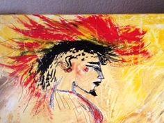 Tableau peinture acrylique peint au couteau tons jaunes, rouges