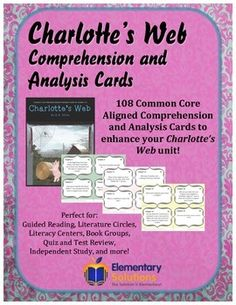 108 versatile Common Core Aligned Comprehension and Analysis Task Cards are designed to accompany your Charlotte's Web unit!