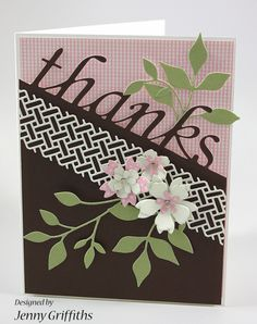 Good Morning Crafty Friends, I'd like to share a fun thank you card using the Wicker Panel die from the brand new 2014 Summer Collection. You have seen it in a few different posts this week and here's my version--- I have always liked diagonal designs. I'm not sure you can tell from the photo but the word
