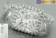 Ladies Modern Platinum 3.11ctw Square Brilliant Diamond Engagement Ring GIA
