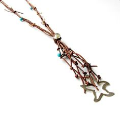 Leather Necklace Extra Long Silver Starfish by JewelMeShop on Etsy #mediterranean #jewelry