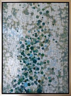 "Copyright 2015 Mia Tavonatti Aqua Bubbles 18"" x 24"" layered stained glass mosaic"