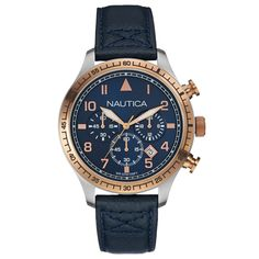Nautica BFD 105 Chronograph Watch. With a navy dial and refined rose gold detail, this watch has mastered classic, authentic appeal.