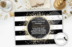 Great Gatsby inspired invitation adorned with gold leaf and glitter and bold black and white stripes. Confetti invitation perfect for a bridal shower or birthday party.