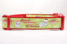 Hippopotamus for Christmas Dog Collar  1 inch by Apolloscloset