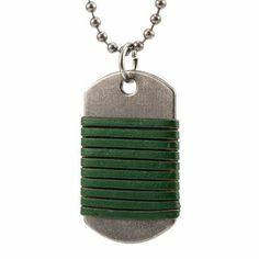 R&B Joyas - Collar hombre, cadena bolas con colgante placa militar estilo arma, cuero y metal, color verde / plateado: Amazon.es: Joyería