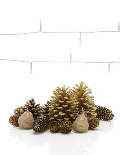 Gold Pine Cone Room Decorations With 20 Battery LED Christmas Lights    Marks Spencer