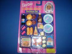 Barbie Cooking Magic Barbeque Set miniature mini food color change 1997 set toy