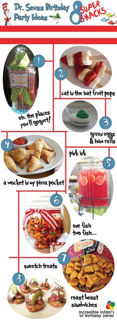 Dr Seuss Birthday Party Ideas - Snacks http://www.incredibleinfant.com