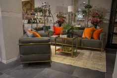 Serien Dexter med soffa och fåtölj. Med sin snygga gråa färg och ställning i mässing skapar de tillsammans en fantastisk atmosfär i ditt hem. Snygg, stilfull och rena enkla linjer ger en känsla av rymd och lyx.