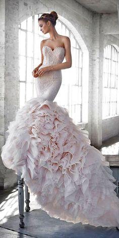 99 Most-Pinnned Mermaid Wedding Dresses - Wedding Gowns Platform Pink Wedding Dresses, Gorgeous Wedding Dress, Beautiful Gowns, Bridal Dresses, Wedding Gowns, Bridesmaid Dresses, Lace Wedding, Lace Bride, Dresses Dresses