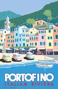 PEL403: 'Fiat 'Jolly' – Portofino' by Charles Avalon - Vintage car posters - Art Deco - Pullman Editions - Fiat