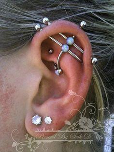 ear project by Portland-based piercing artist Seth Dietz | double industrial/rook piercing