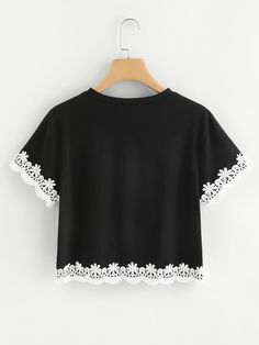 Contrast Floral Lace Trim T-shirt - Fashionable T Shirt - Ideas of Fashionable T Shirt - Shop Contrast Floral Lace Trim T-shirt online. SheIn offers Contrast Floral Lace Trim T-shirt & more to fit your fashionable needs. Girls Fashion Clothes, Teen Fashion Outfits, Trendy Fashion, Girl Fashion, Fashion Dresses, Womens Fashion, Crop Top Outfits, Cute Casual Outfits, Band T Shirts