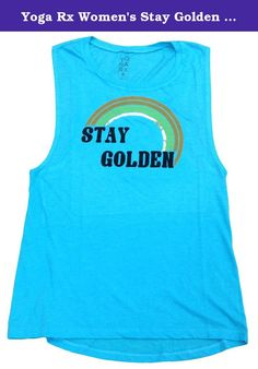 Yoga Rx Women's Stay Golden Muscle Tee Blue (Large). You'll love this tee from beloved yoga brand Yoga Rx for its ultra soft feel, stylish fit, and SUPER cute graphic with gold lamee rainbow design! Stay Golden, kids.
