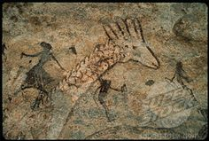 Giraffe with Hunters Cave Painting Tassili n'Ajjer, Algeria Stock Photo Historical Artifacts, Ancient Artifacts, Ancient History, Art History, Paleolithic Art, Art Rupestre, Lascaux, Cave Drawings, Art Ancien