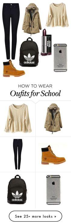school OOTD by daniela-karasova on Polyvore featuring Giorgio Armani, Timberland and adidas Originals