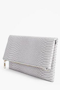 Anna Snake Effect Fold Over Clutch Bag